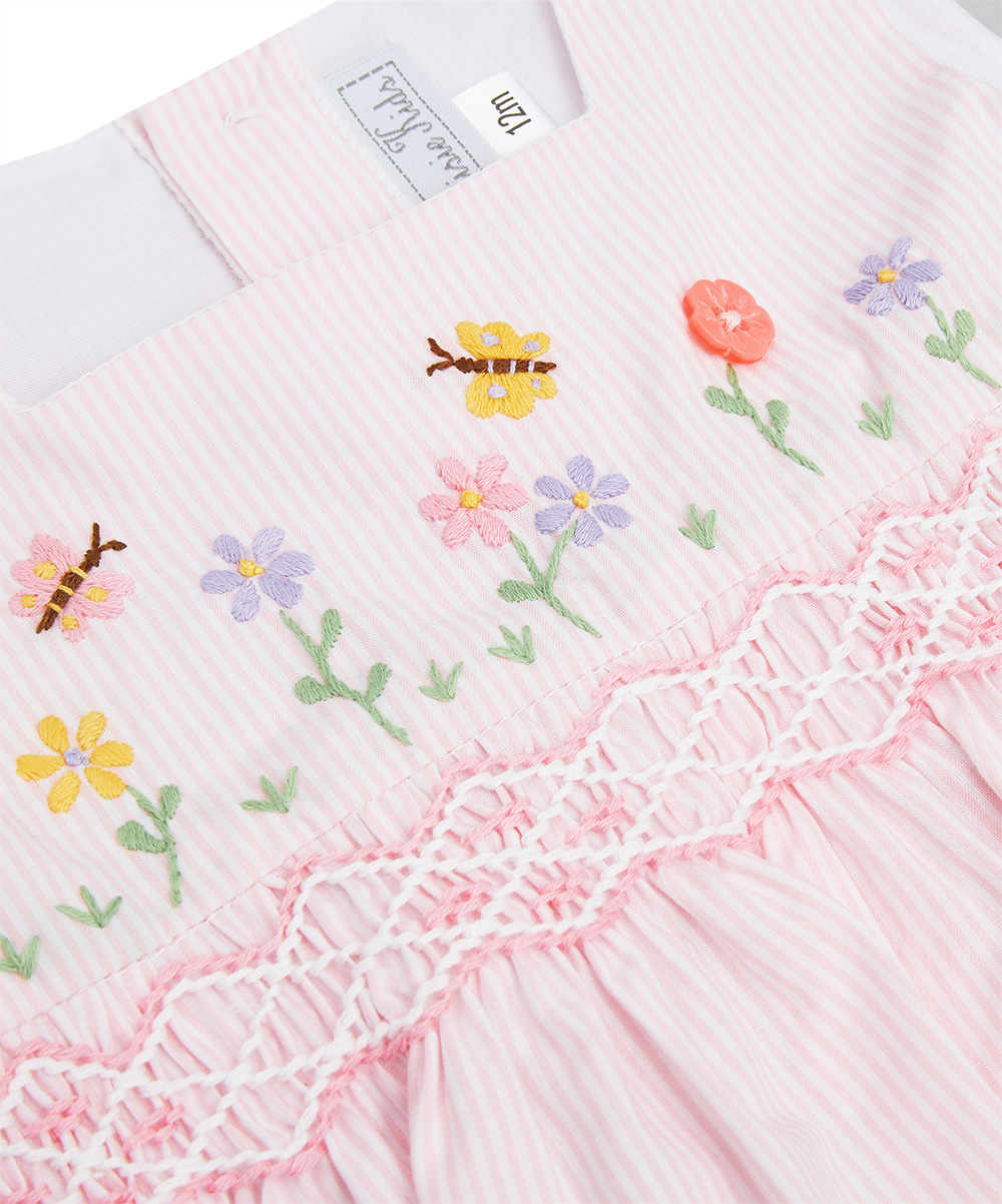 Spring Garden Smocked Pink Stripe Bubble