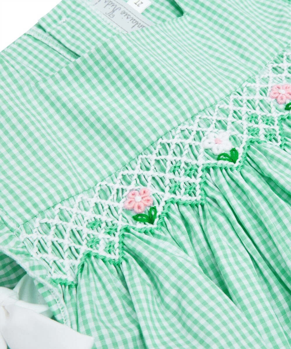 Green Mint  Gingham Smocked Apron Top & Bloomers