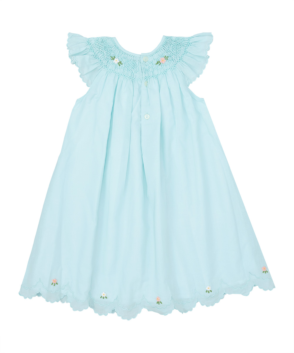 Mint Green Smocked Floral Scalloped Angel Sleeve Dress
