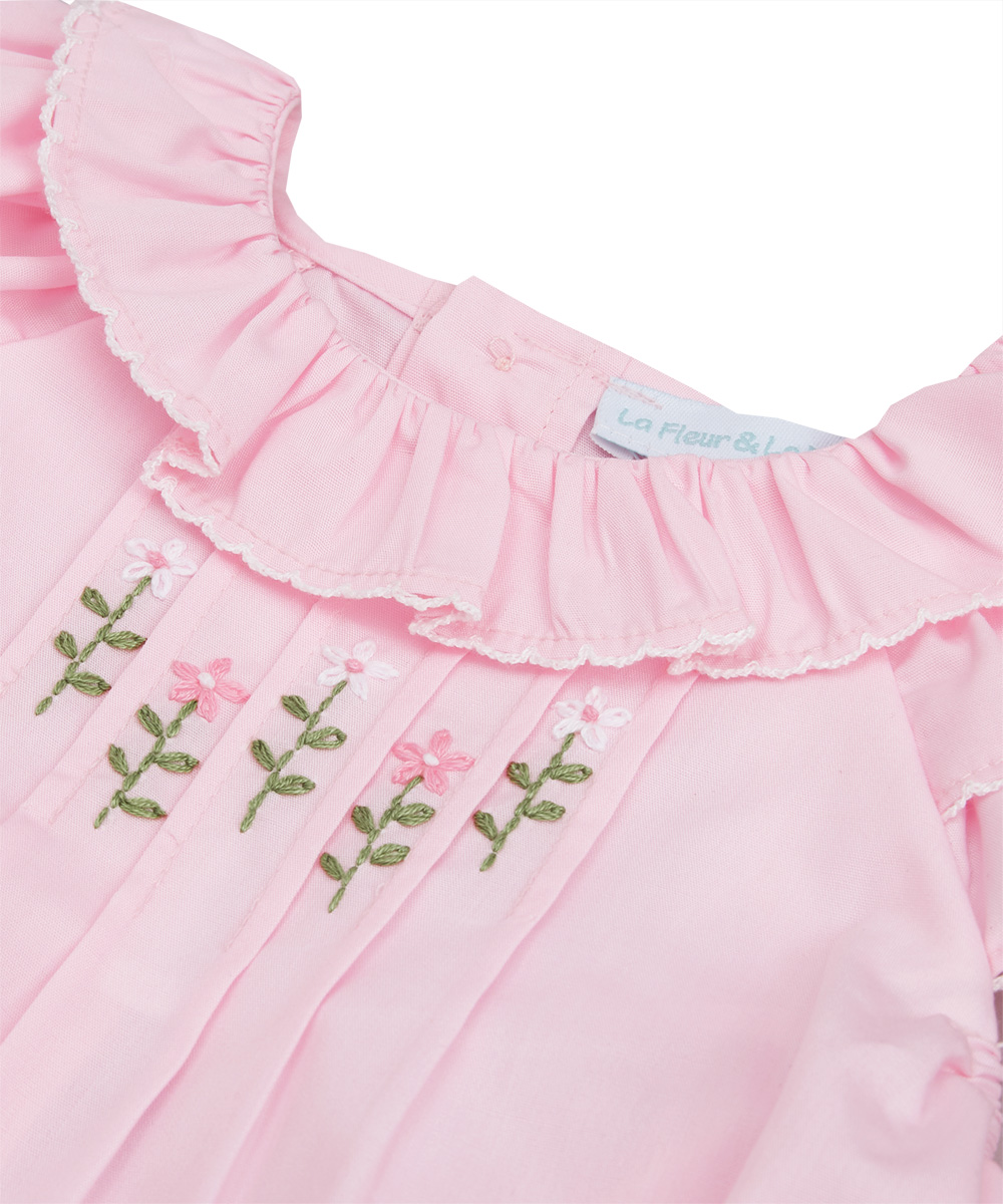 Pink Embroidered Ruffle Bubble