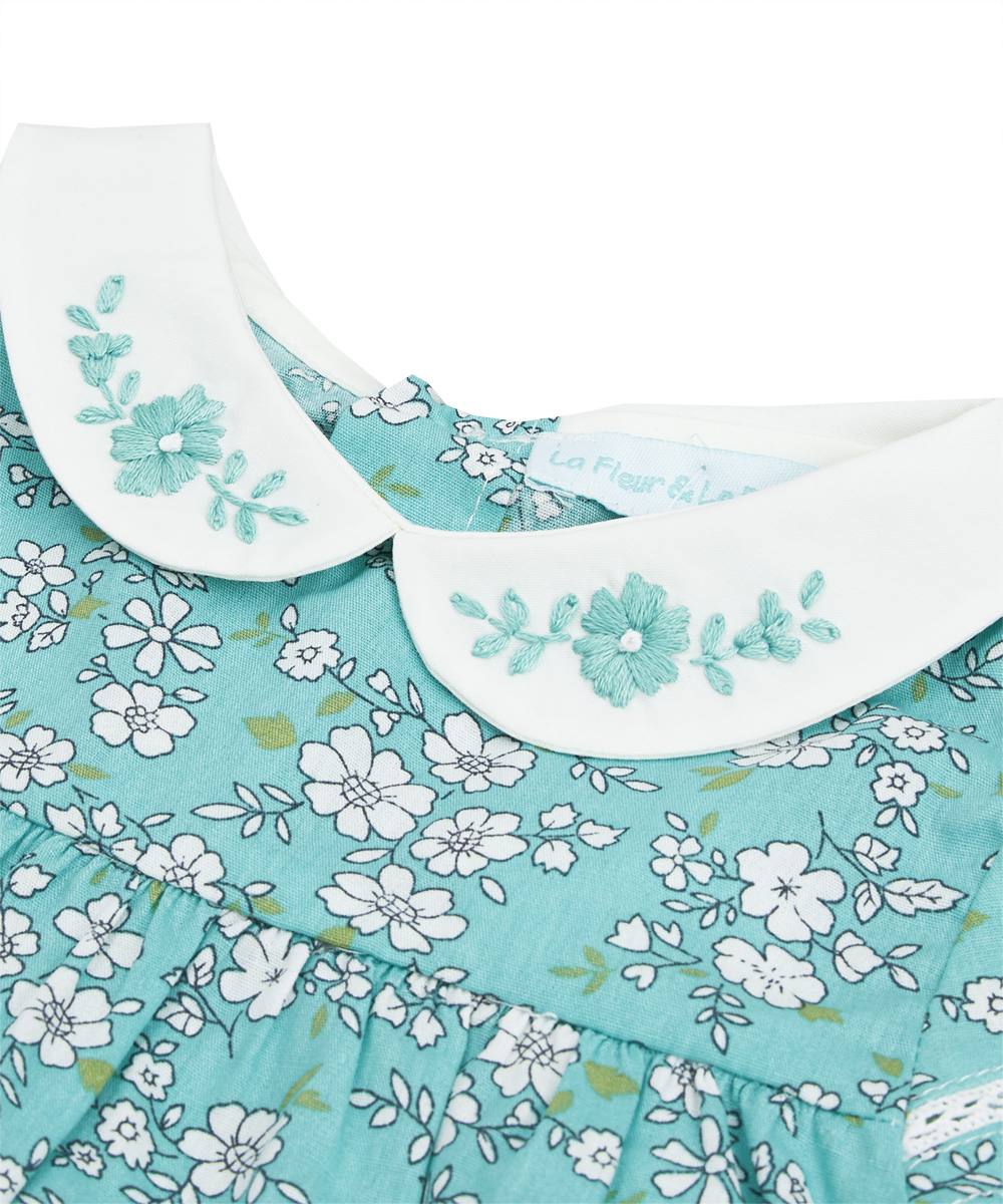 Turquoise & Ivory Embroidered Floral Dress And Diaper Cover
