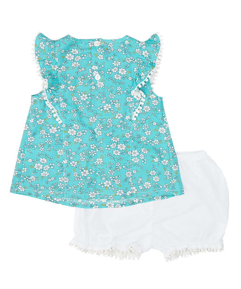 Turquoise & Ivory Liberty  Swing Top And Bloomers