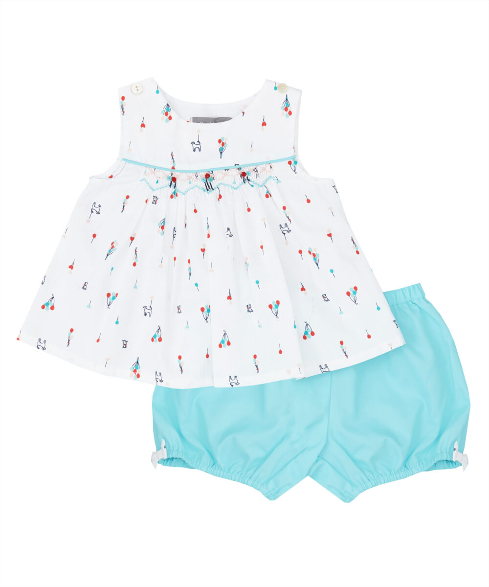 Aqua & Red Balloon Smocked Top and Bloomers