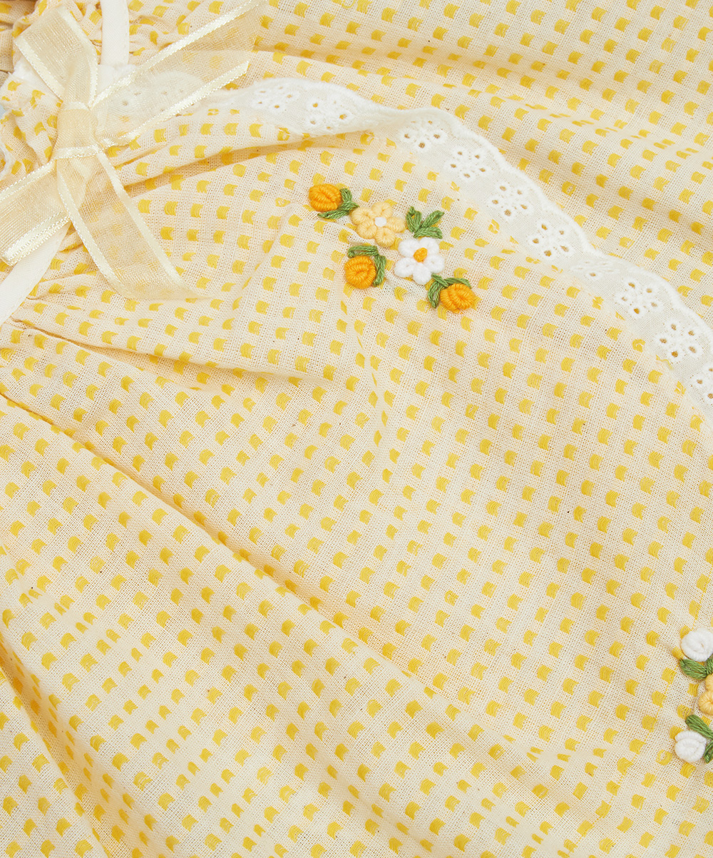 Yellow Swiss Dot Embroidered Top & Leggings