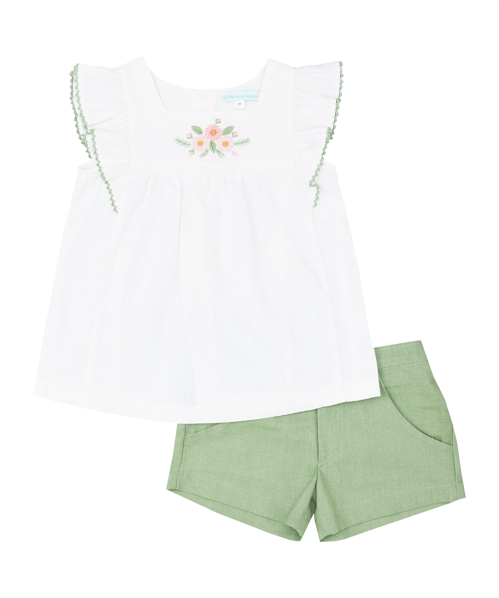 White Ruffle Embroidered Top & Moss Green Shorts