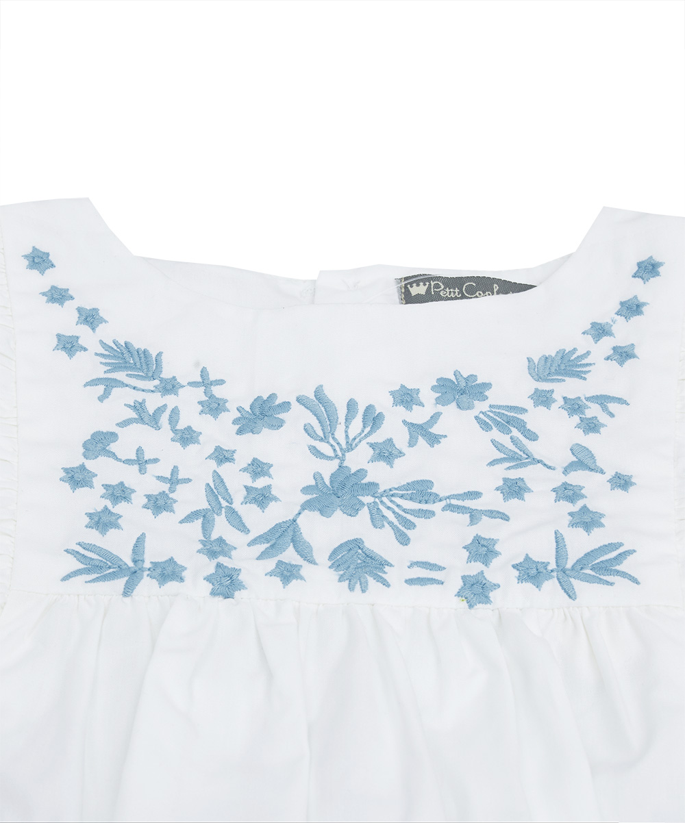 Blue Embroidered Ruffle Top & Denim Shorts