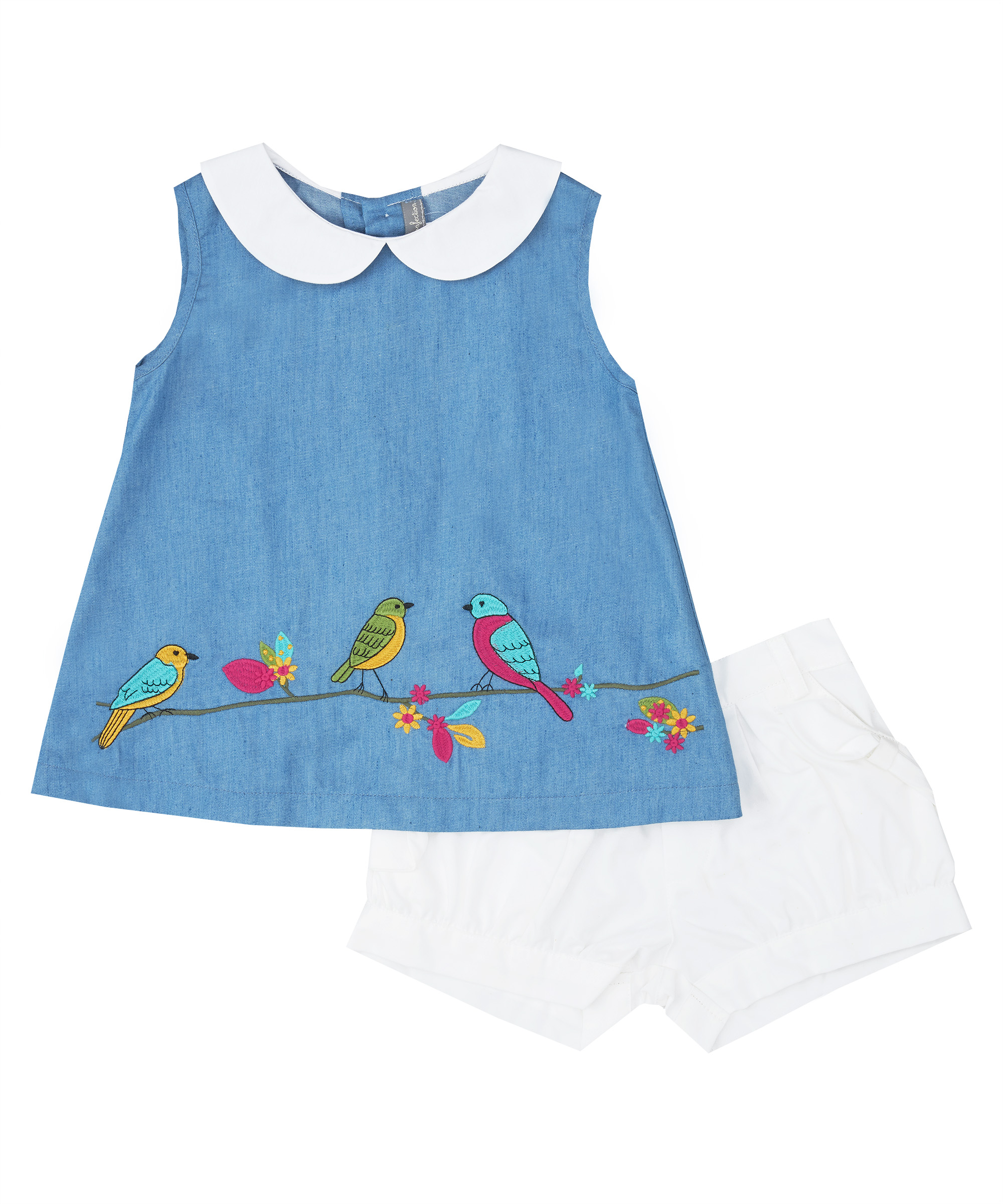 Tropical Bird Embroidered Top  & White Shorts