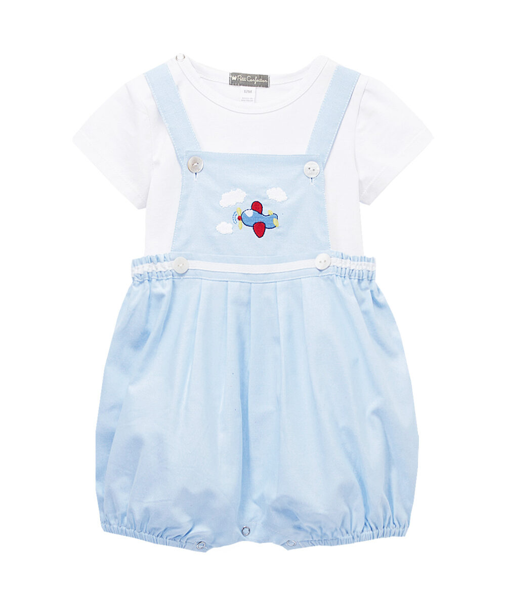 Blue & White Helicopter Embroidered Overalls& Tee