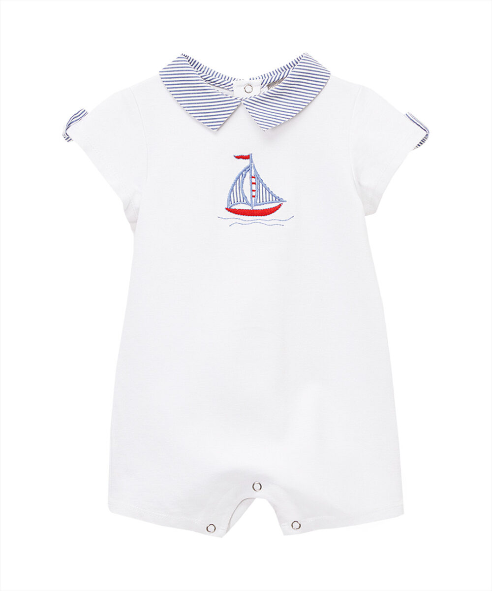 White Sailboat Embroidered Romper
