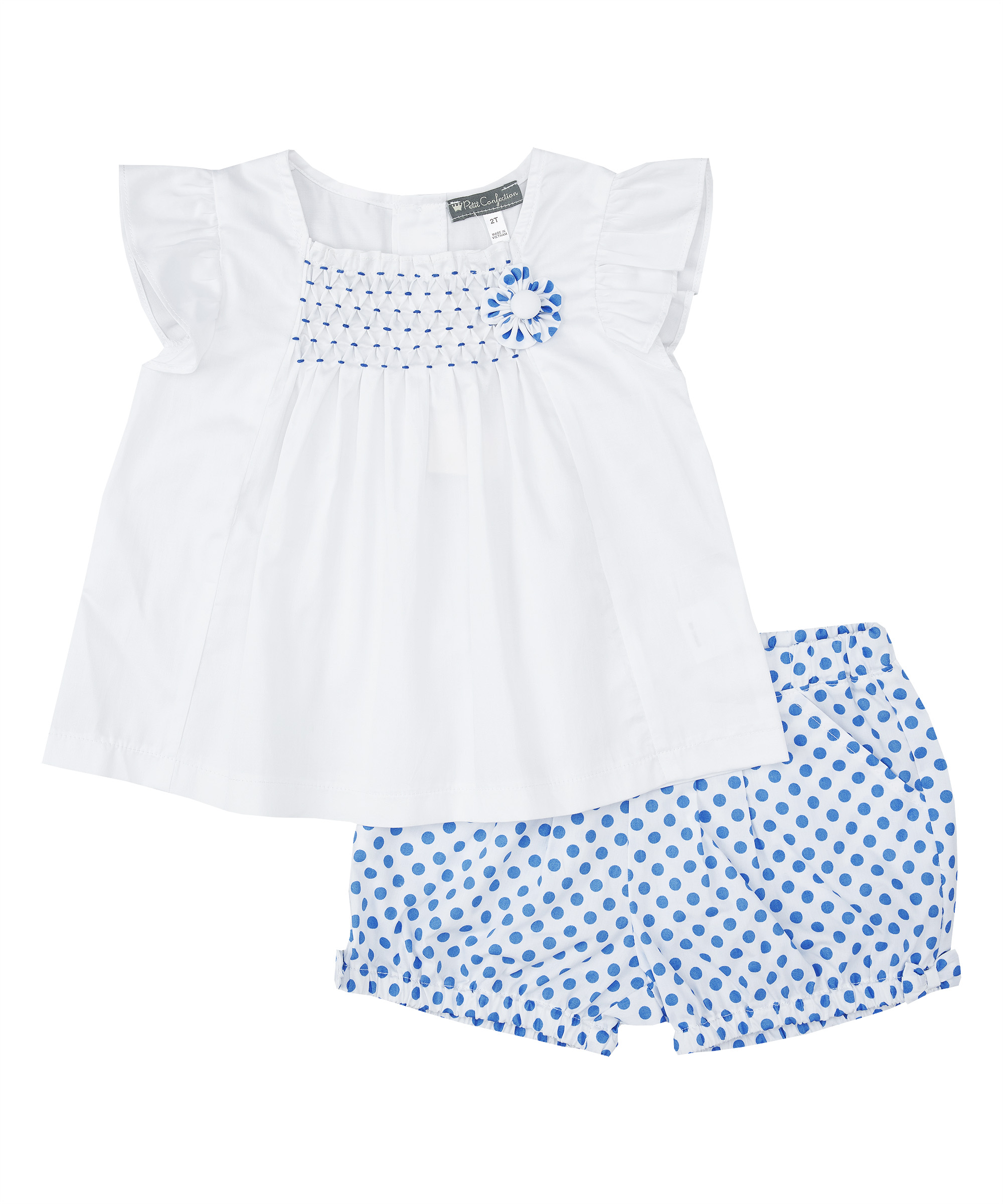 Blue Smocked Top  & Polka Dot Bloomers