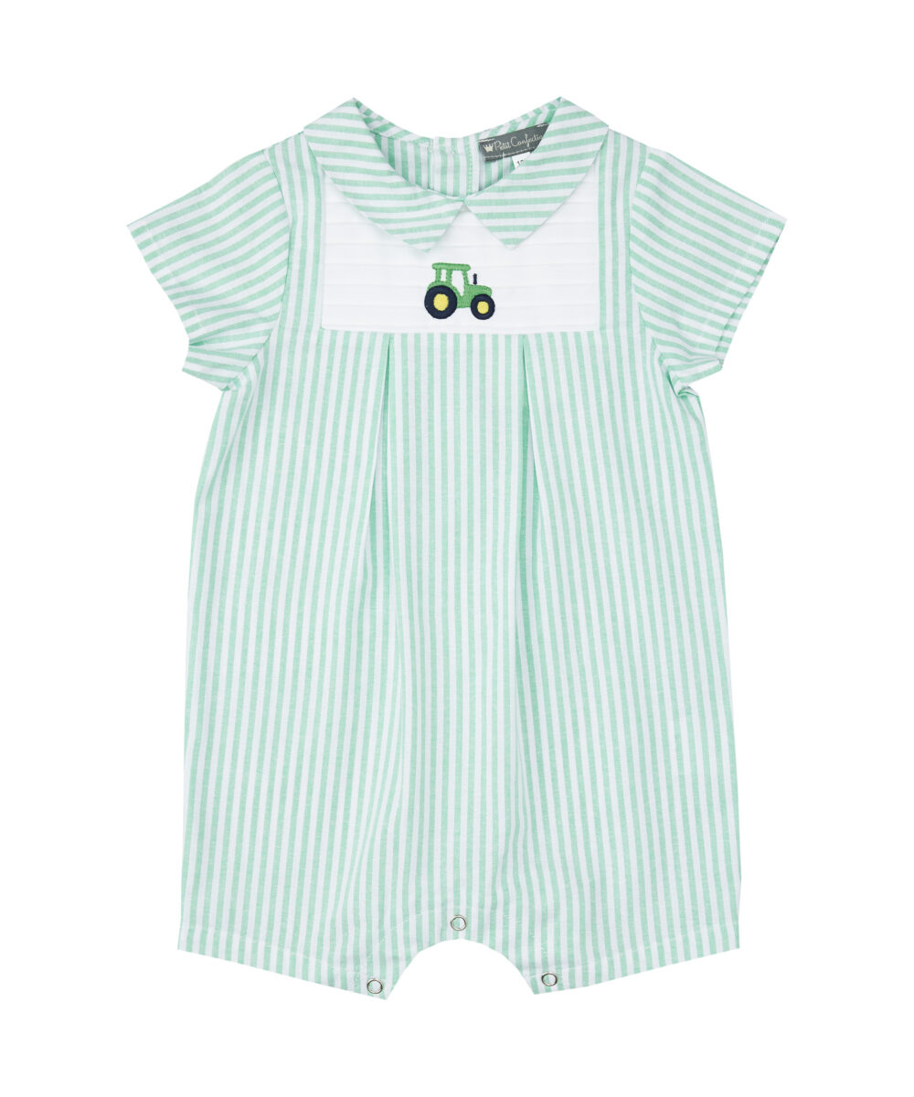 Green Tractor Embroidered Shortalls