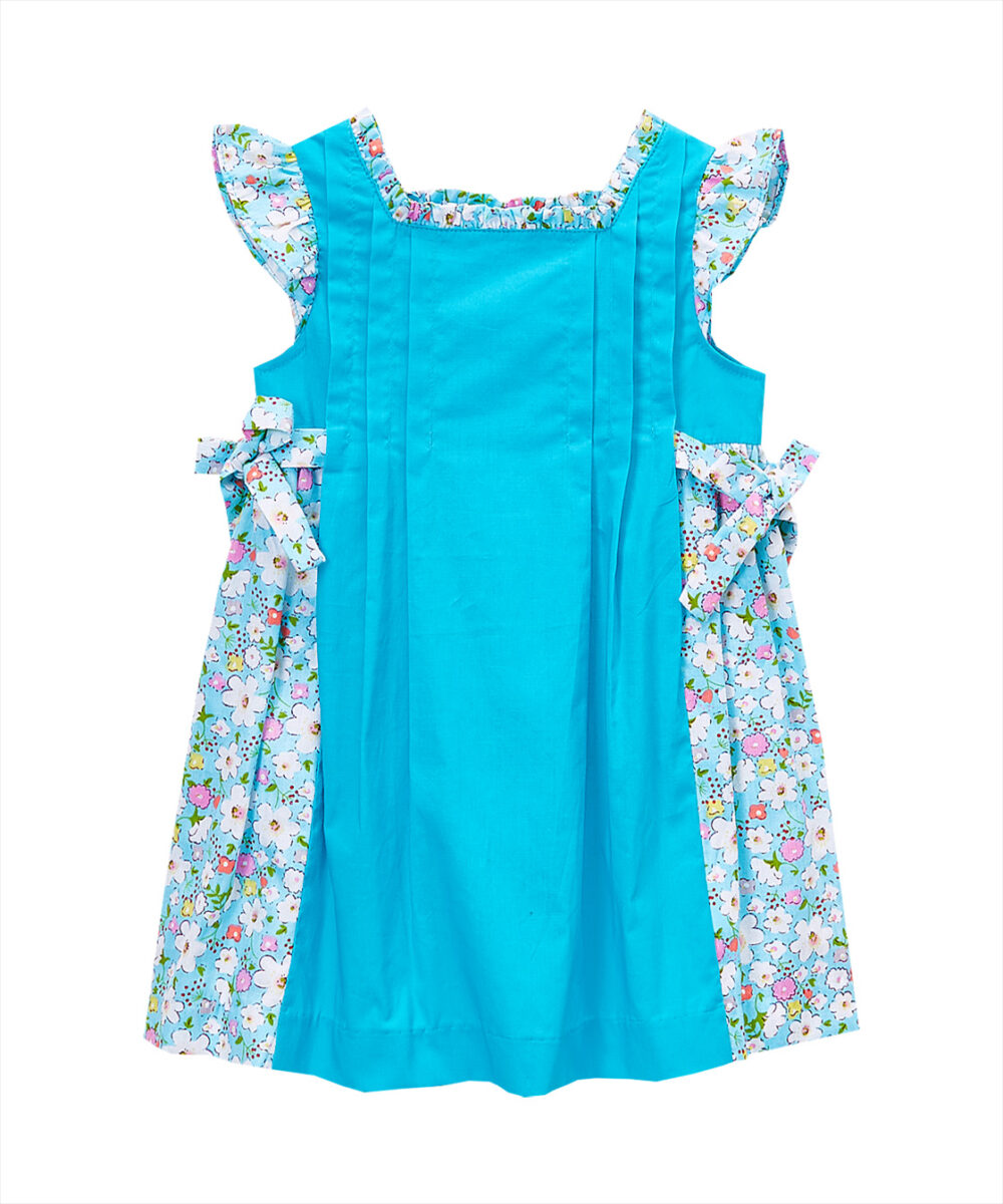 Turquoise Floral Angel -Sleeve Dress