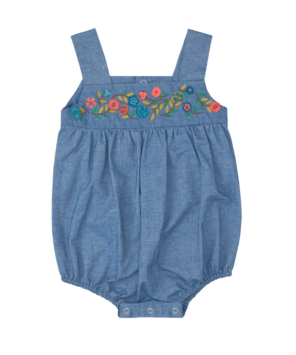 Floral Embroidered Denim Bubble