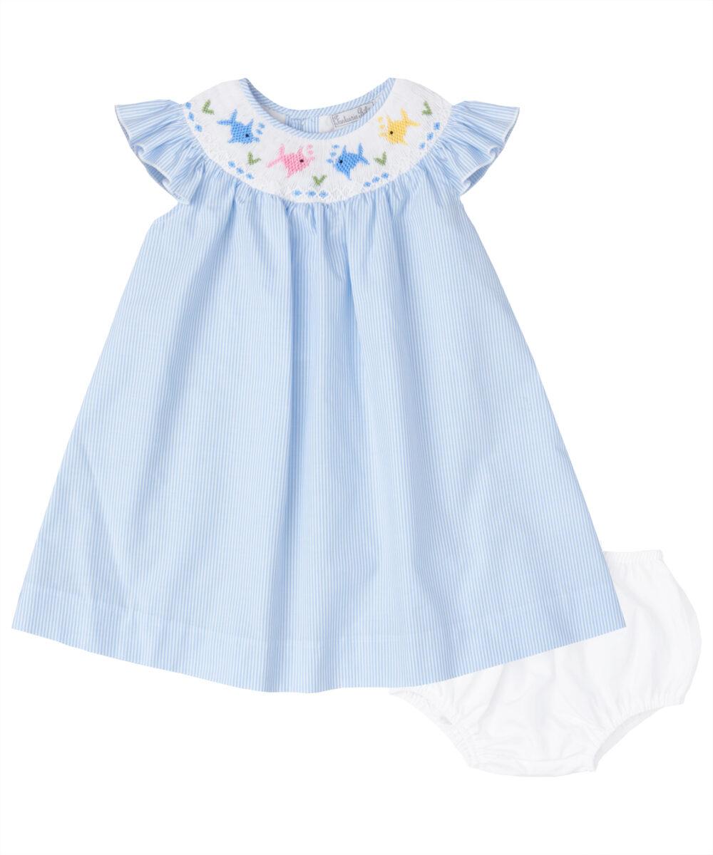 Blue Stripe Color Fish Smocked Angel Sleeve Dress
