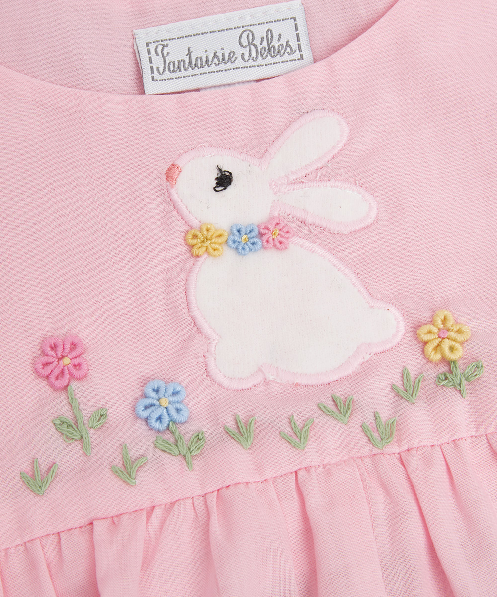 Pink Embroidered Bunny Bubble
