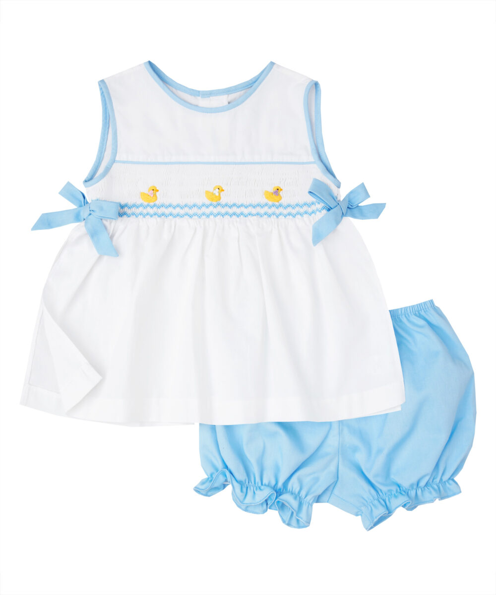 White & Blue Hand Smocked Baby Duck Top And Bloomers