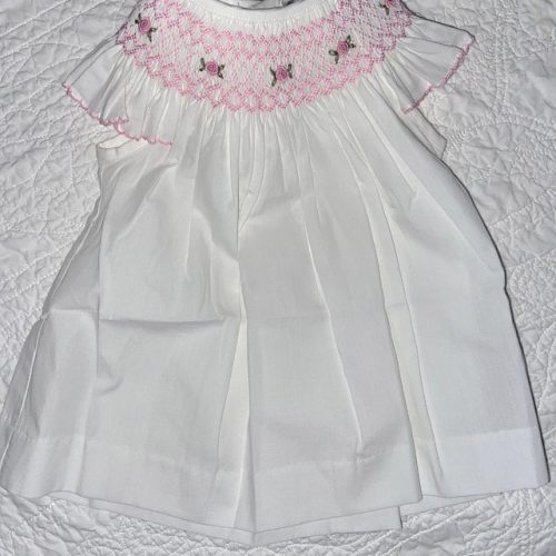 White & Pink Smocked Angel Sleeve  Dress photo review