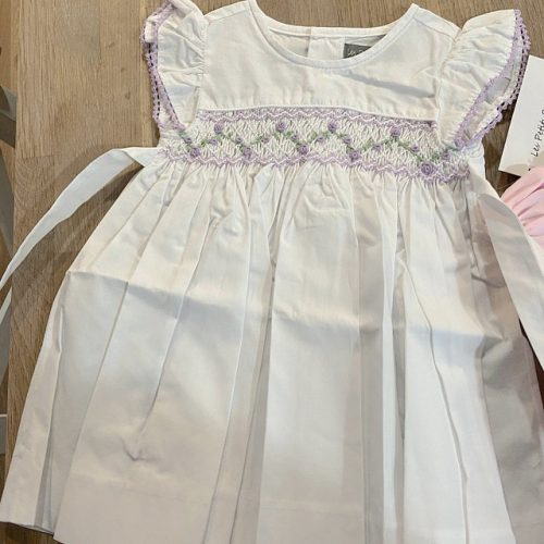 Smocked White & Lavender Angel Sleeve Dress photo review