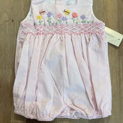 Spring Garden Smocked Pink Stripe Bubble photo review