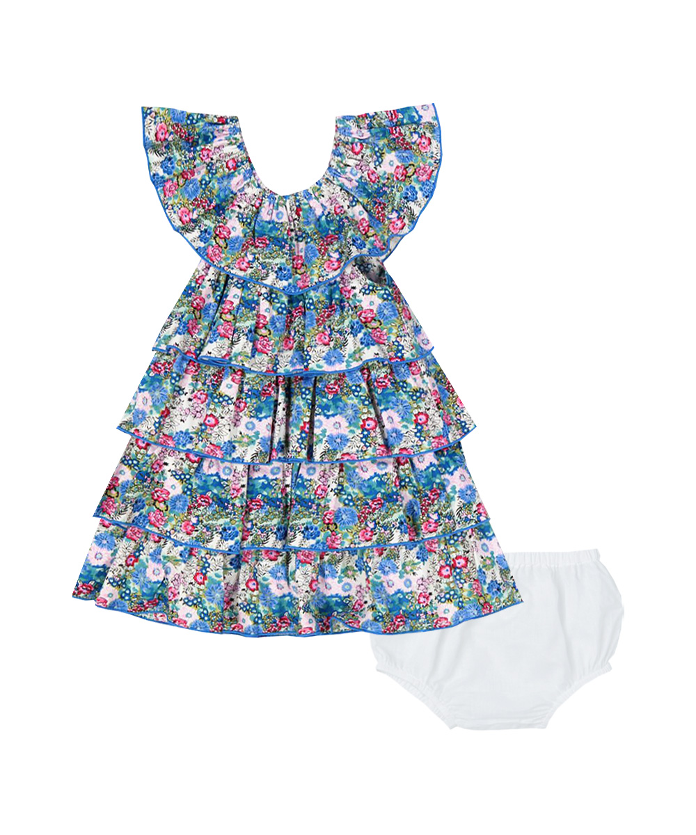 Blue & White  Floral Tiered Dress and Bloomers