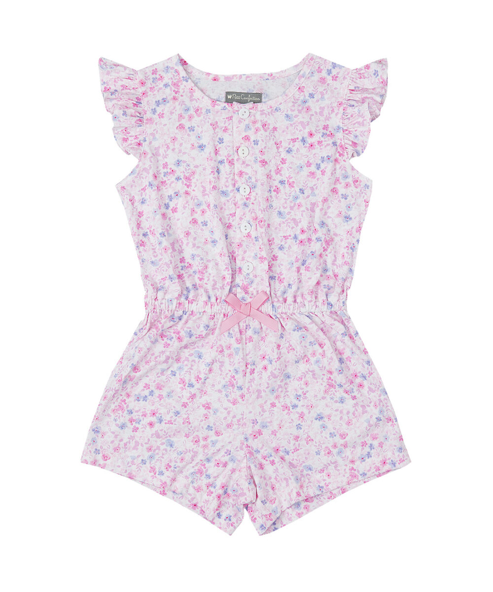 Floral Ruffle Jersey Cotton Romper