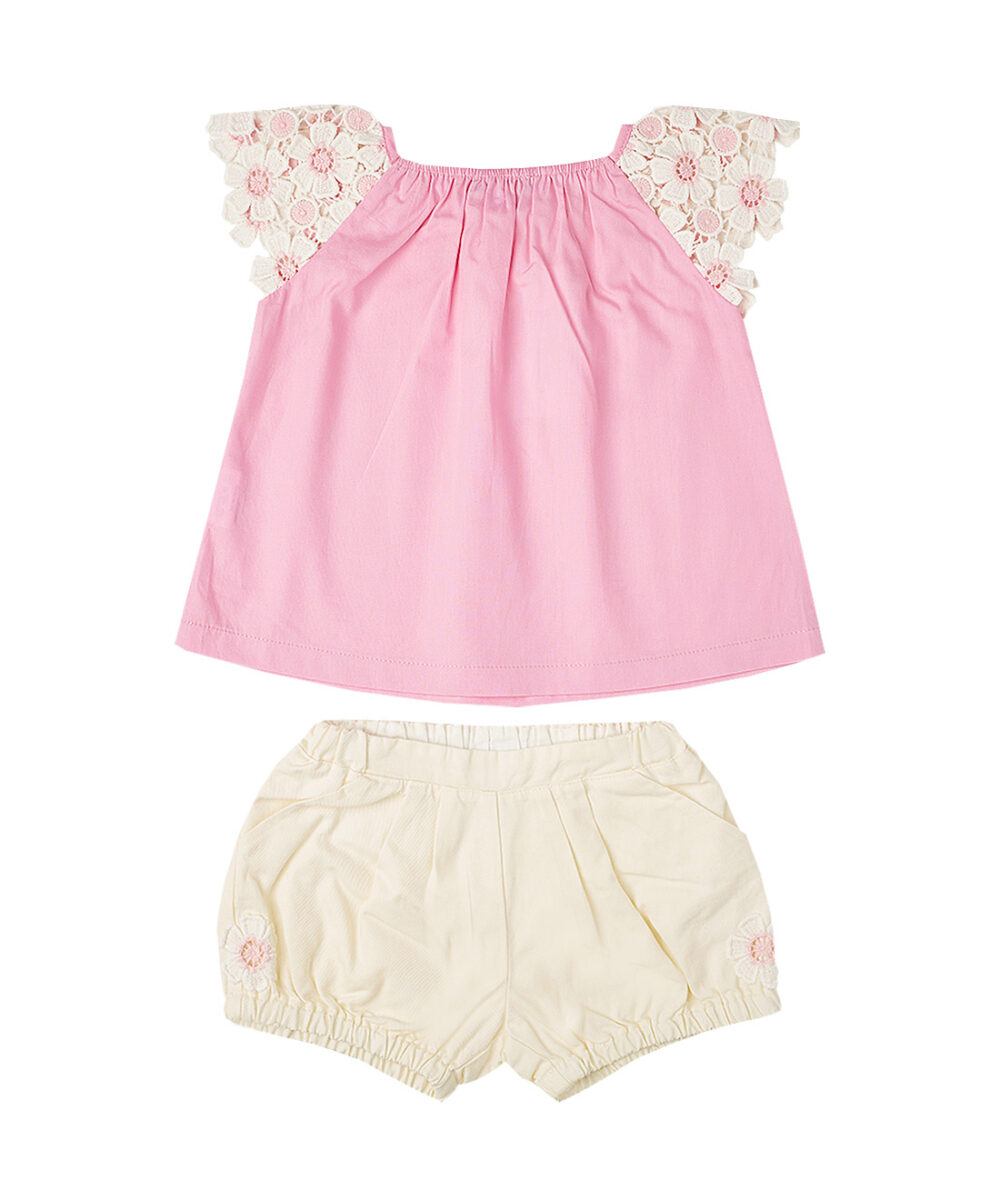 Pink Lace Sleeve Top & Ivory  Shorts