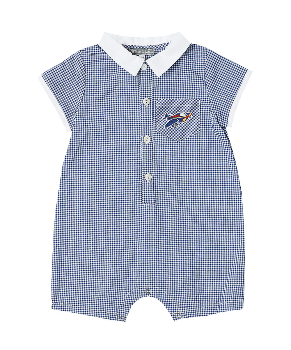 Blue Gingham Airplane Button -Up Romper
