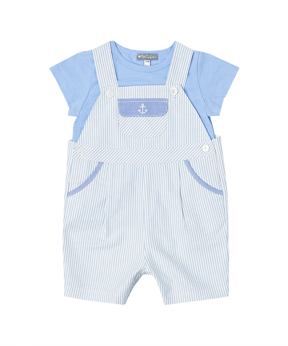 Blue & White Pinstripe Embroidered Overalls And Blue Tee