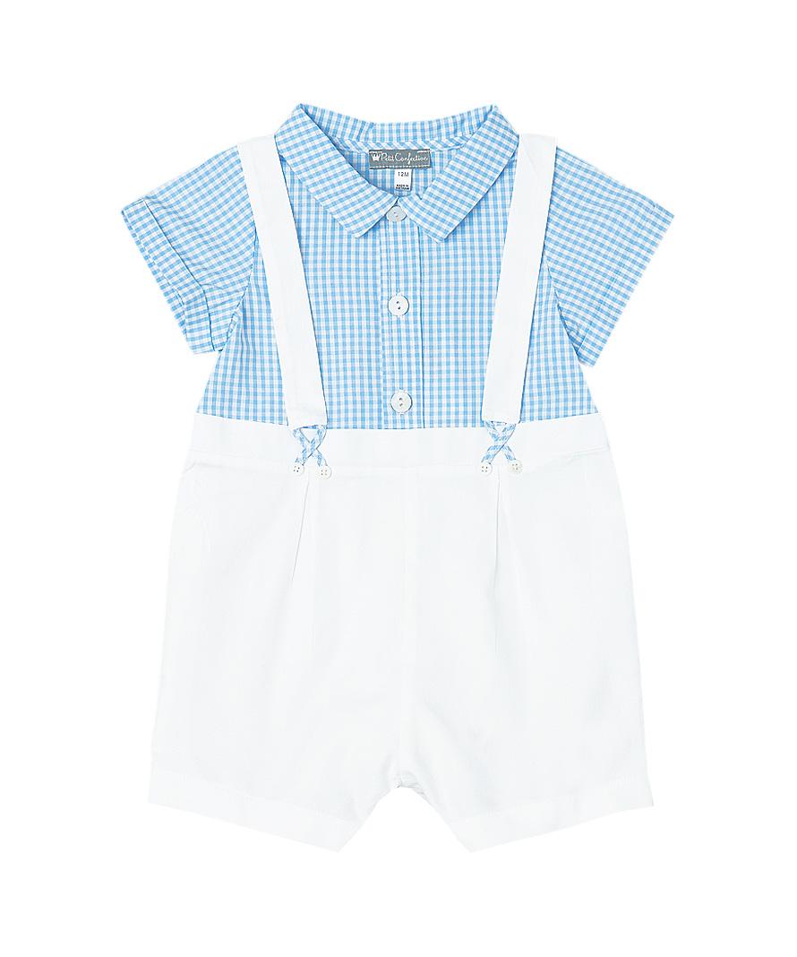 White & Blue Gingham Suspender Romper