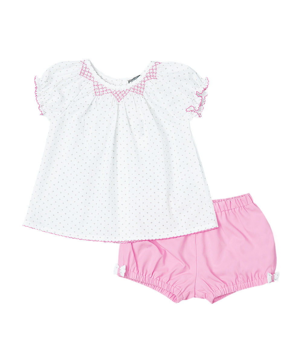 White & Pink Polka Dot Smocked Top And Pink Bow Bloomers