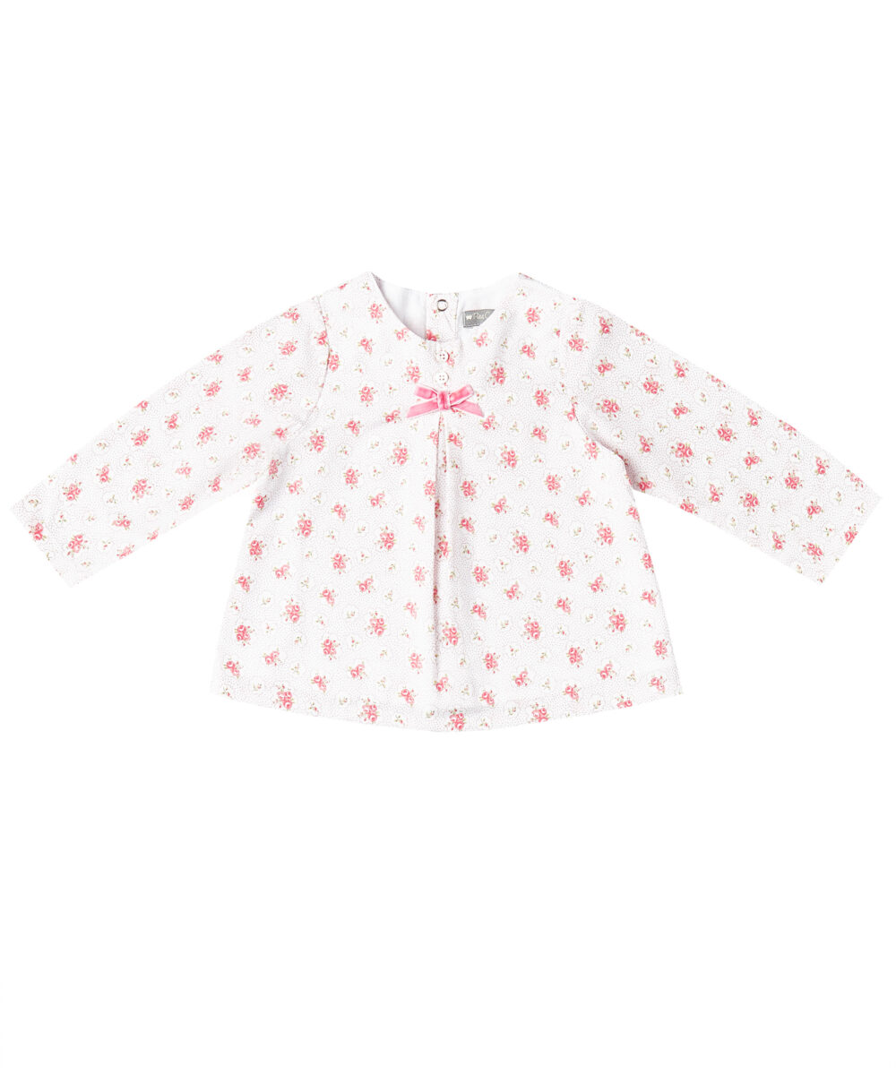 Pink Floral Long -Sleeve Tunic