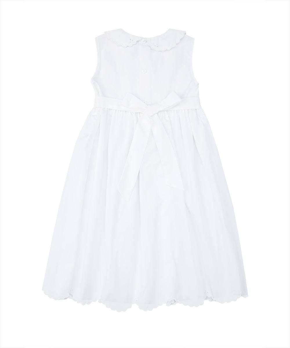 White Hand Eyelet Trim Peter Pan Collar Smocked Dress