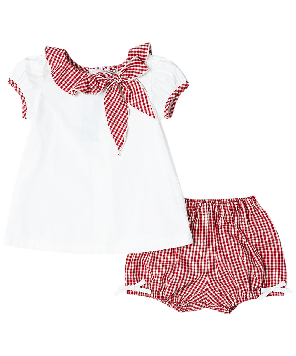 Red Gingham Bloomers & White Blouse