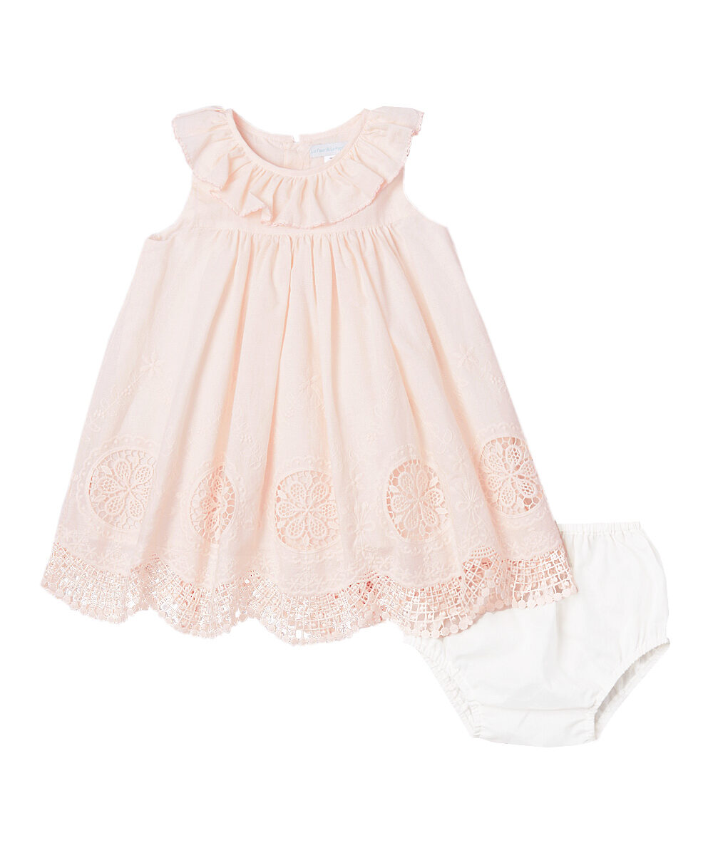 Blush Pink Cut Work Embroidered Dress & Diaper Cover