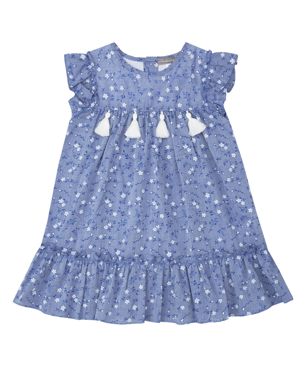 Ruffle Navy & White Floral Dress