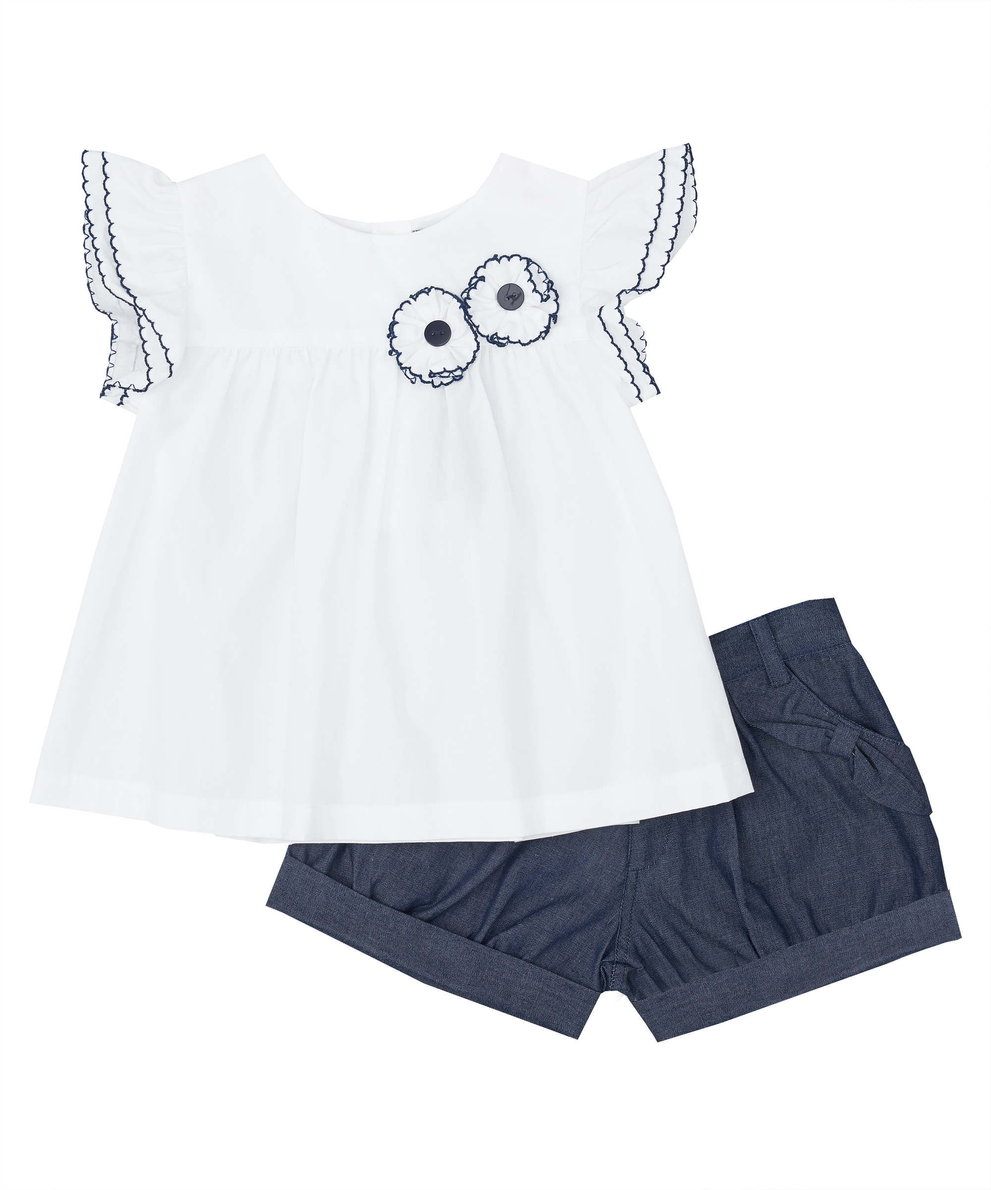 White & Navy Blue Flower Applique Top and Ruffle Shorts
