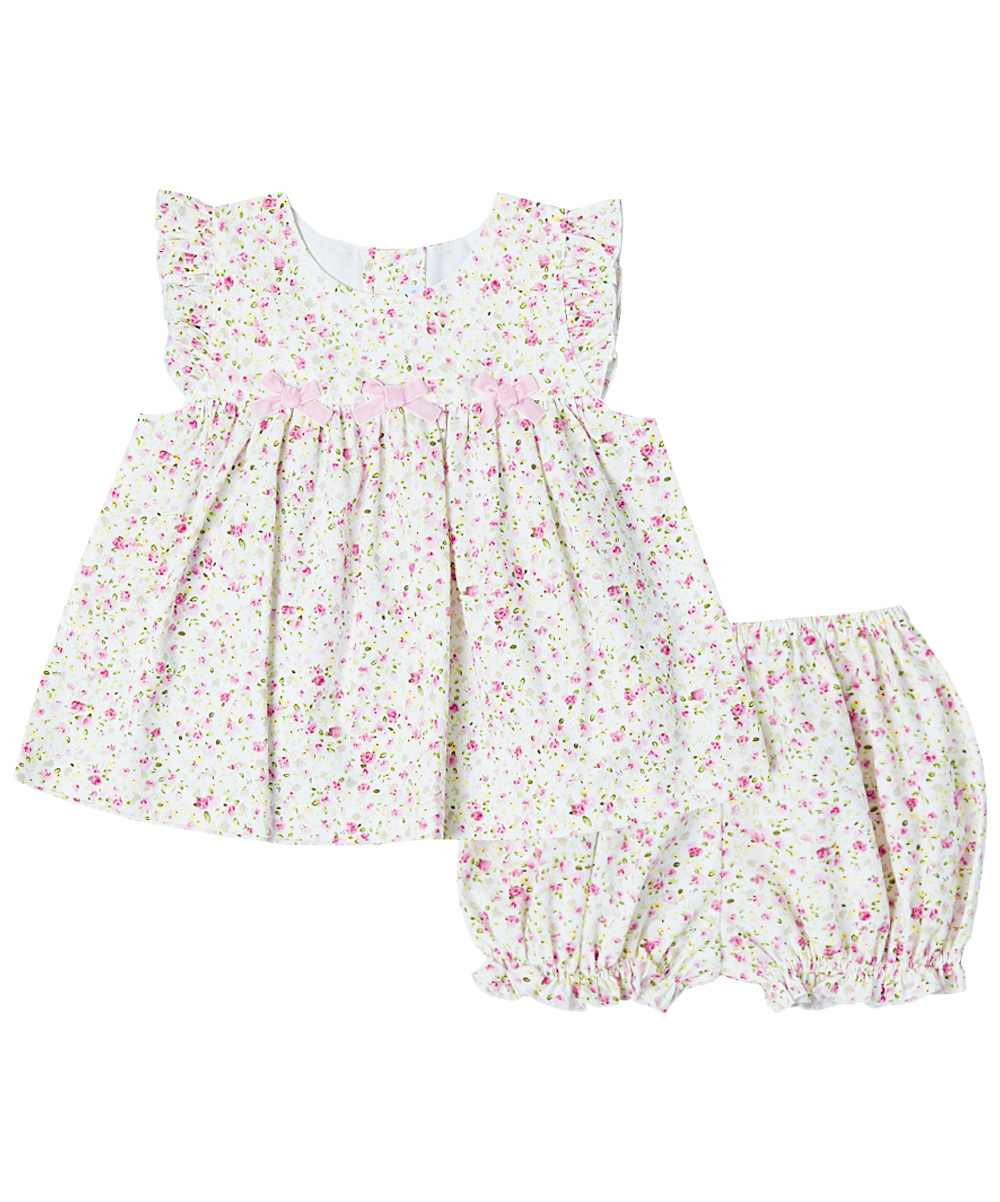 White & Pink Floral Bow Angel-Sleeve Dress