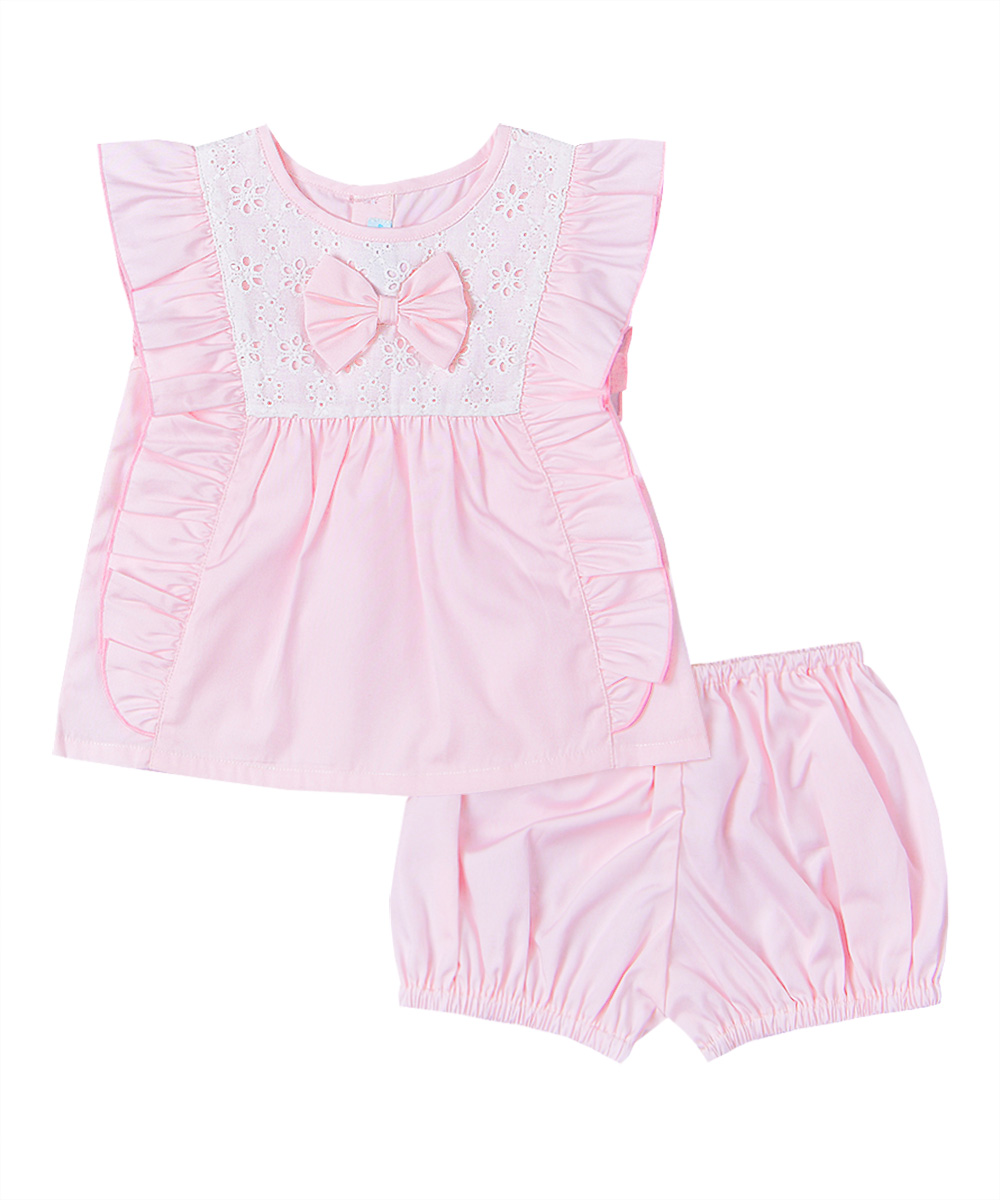 Pink Bow Tie Ruffle Top & Bloomers