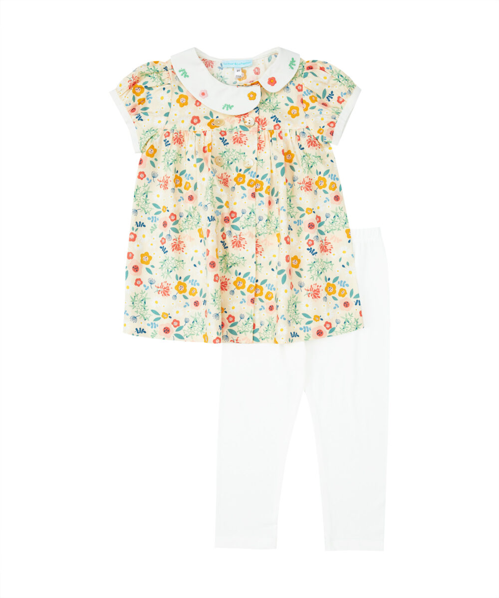 Floral Print Embroidered Top & Leggings