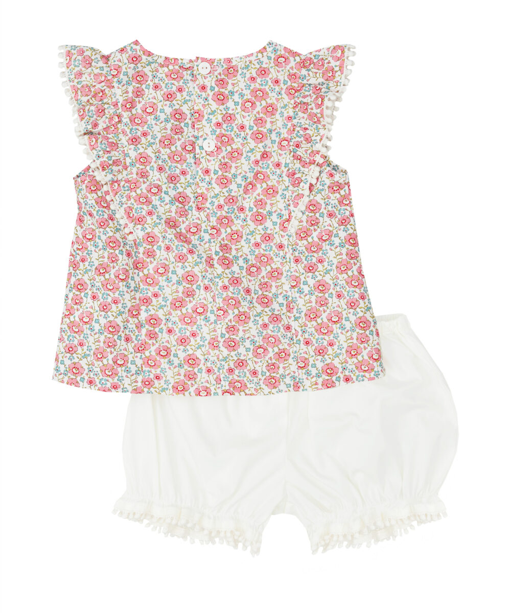 Pink Ivory Liberty Floral Ruffle Top & Bloomers
