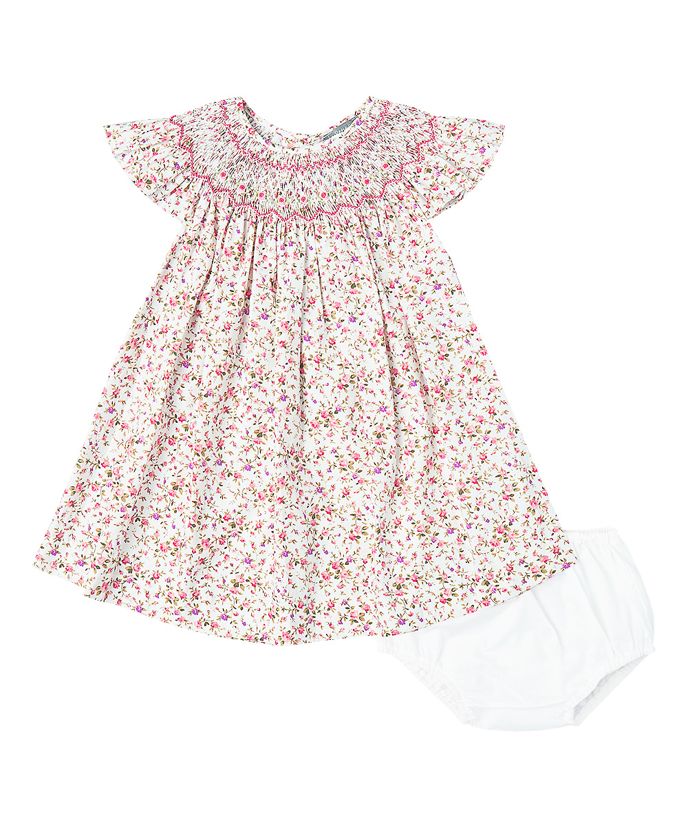 Hand Smocked Floral Angel Sleeve Dress & Diaper Cover