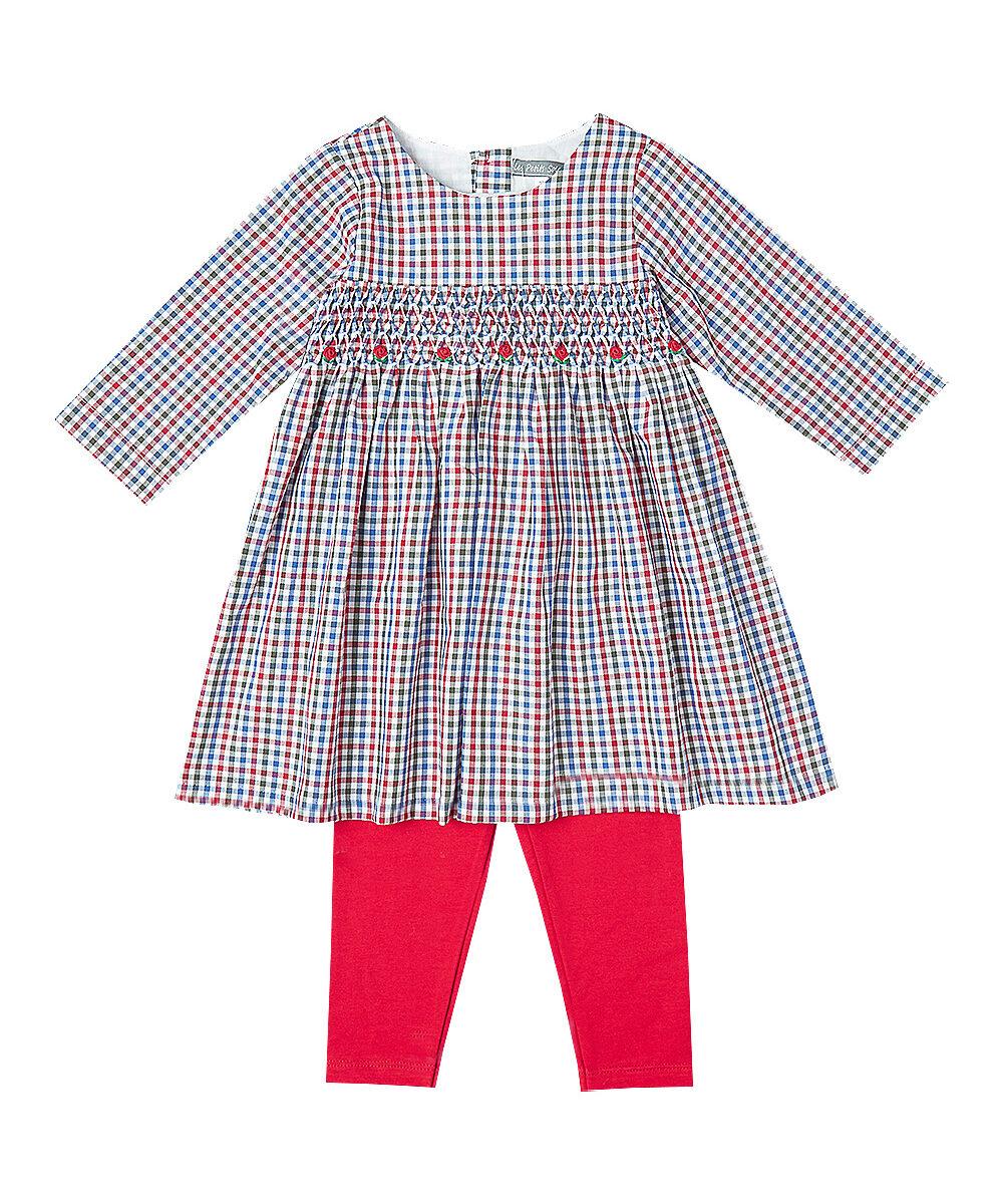 Red & Blue Gingham Smocked Dress & Leggings