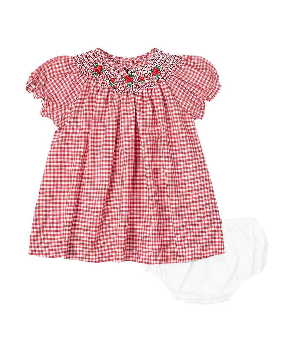 Hand Smocked Red & White Gingham Dress and Bloomers