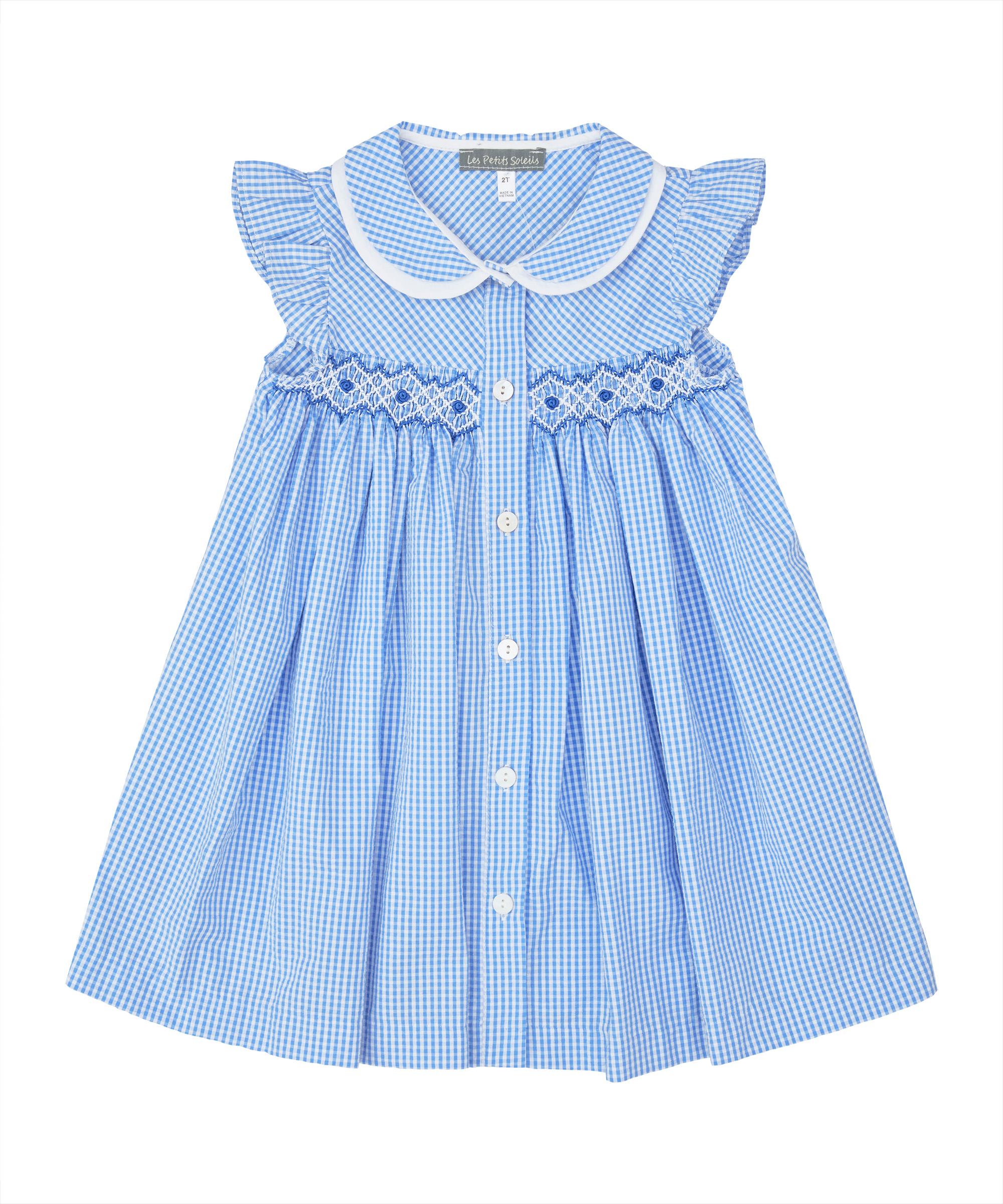 Blue & White Gingham Smocked Peter Pan Collar Dress