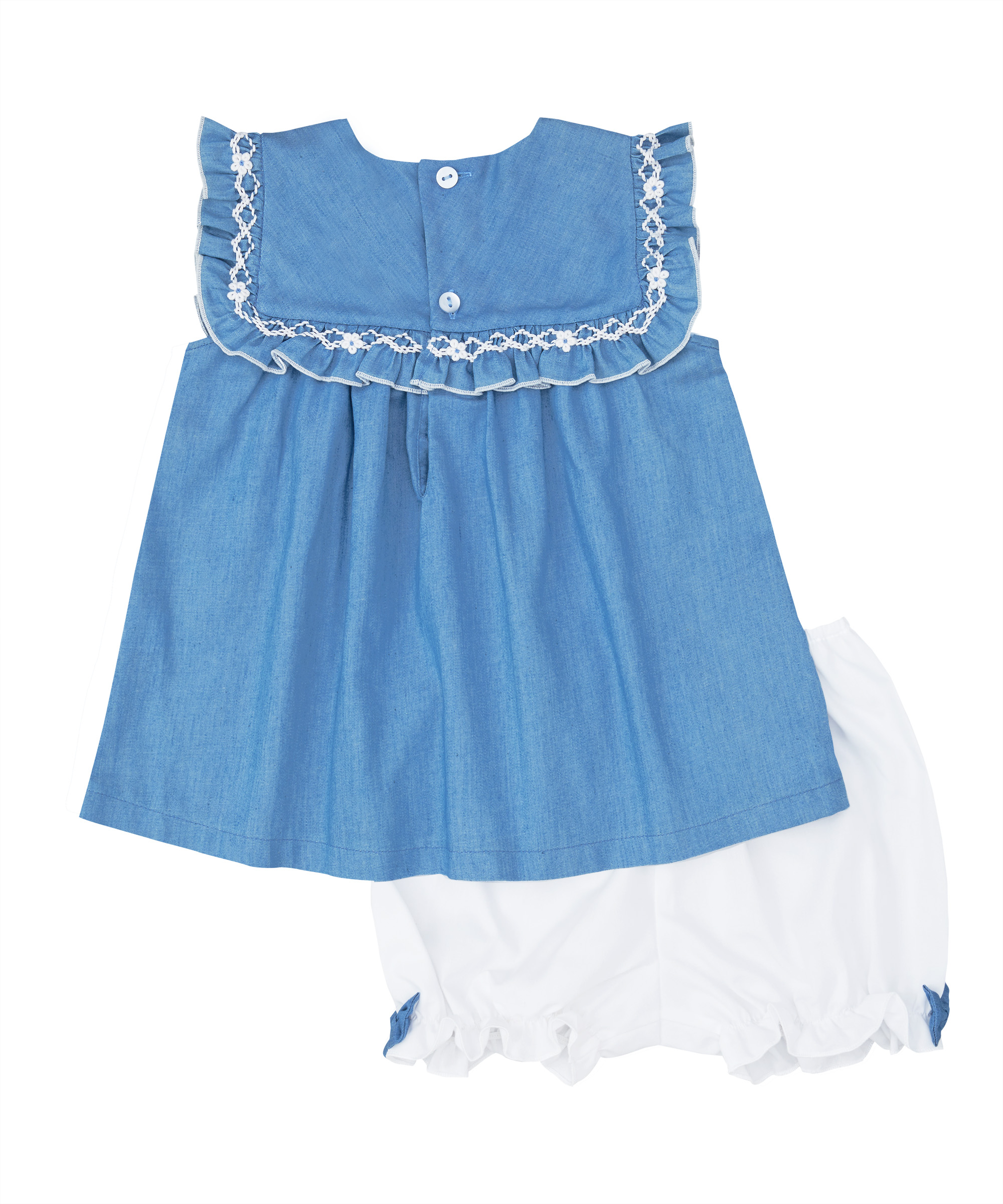 Blue & White Smocked Denim Ruffle Top And Bloomers