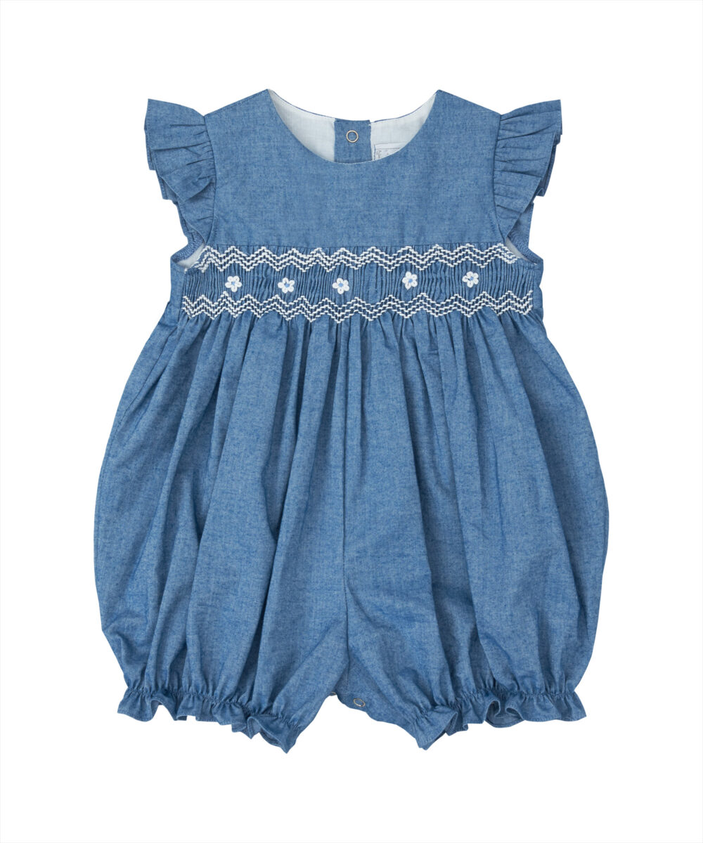 Blue Denim Smocked White Floral Bubble