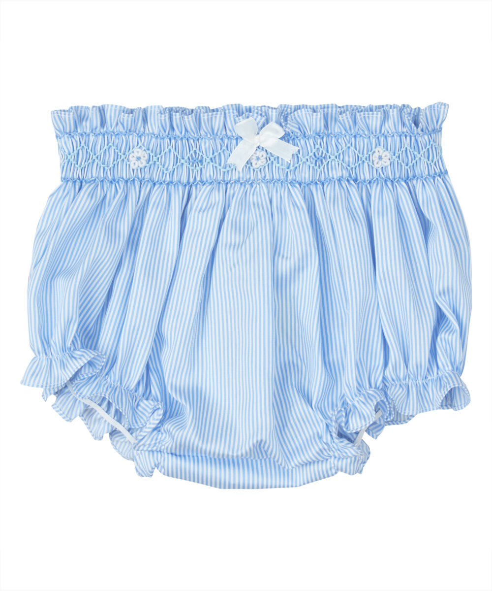 Blue Stripe Smocked Bloomers