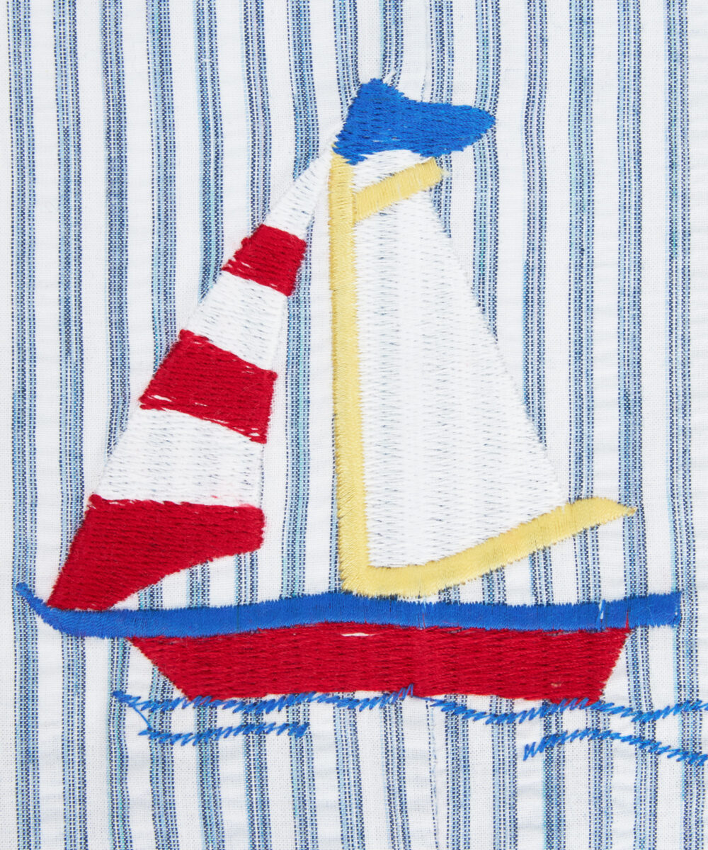 Red, Blue & White Saling Boat Embroidered Jon Jons