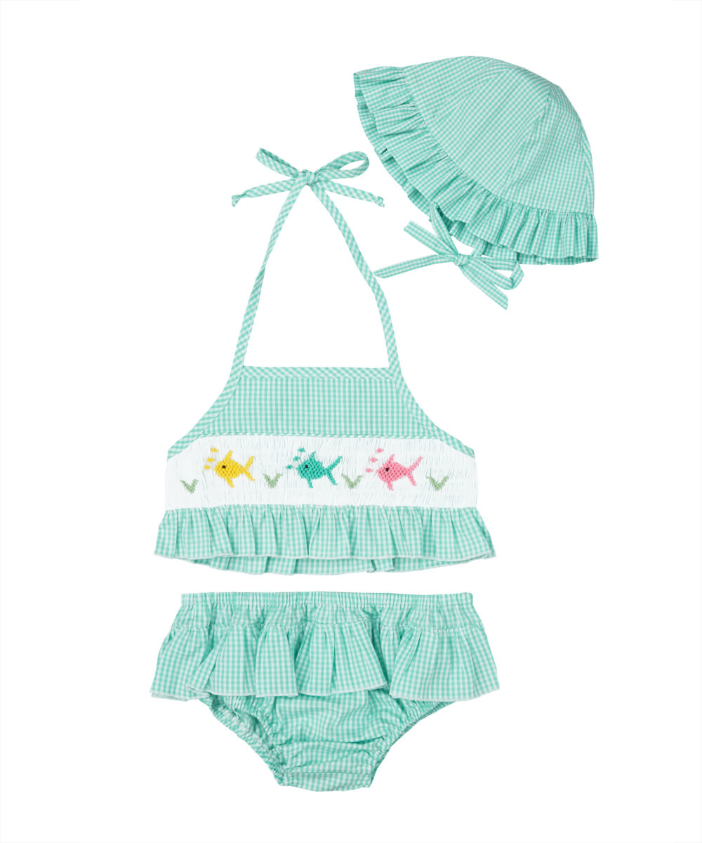 Green Mint Gingham Smocked Sun Suit & Hat