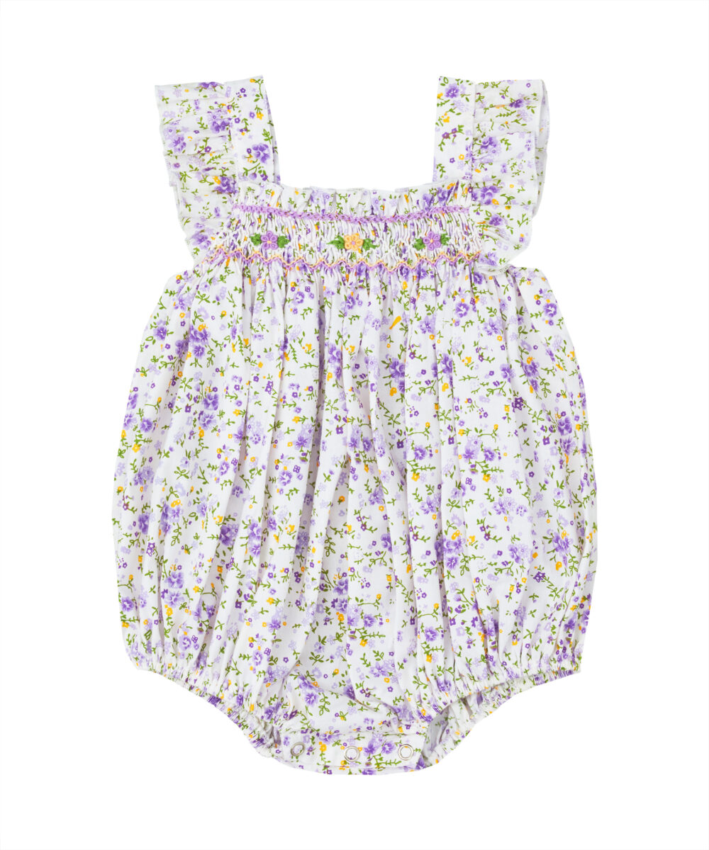 Lavender & Yellow Floral Smocked Bubble